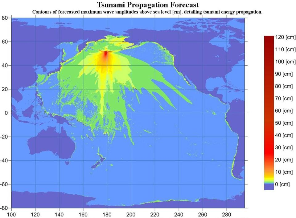 An energy map by the NOAA shows the forecasted wave amplitude in the Alutian Isalnds from the earthquake.