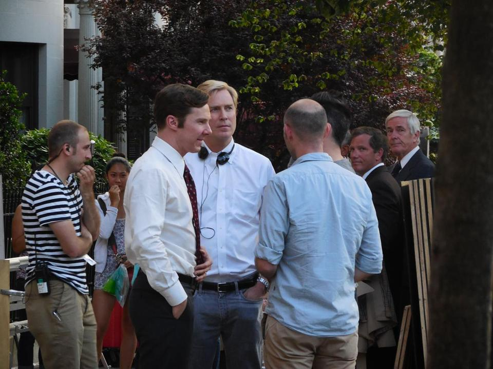 "Benedict Cumberbatch (wearing tie) on the set of ""Black Mass."""