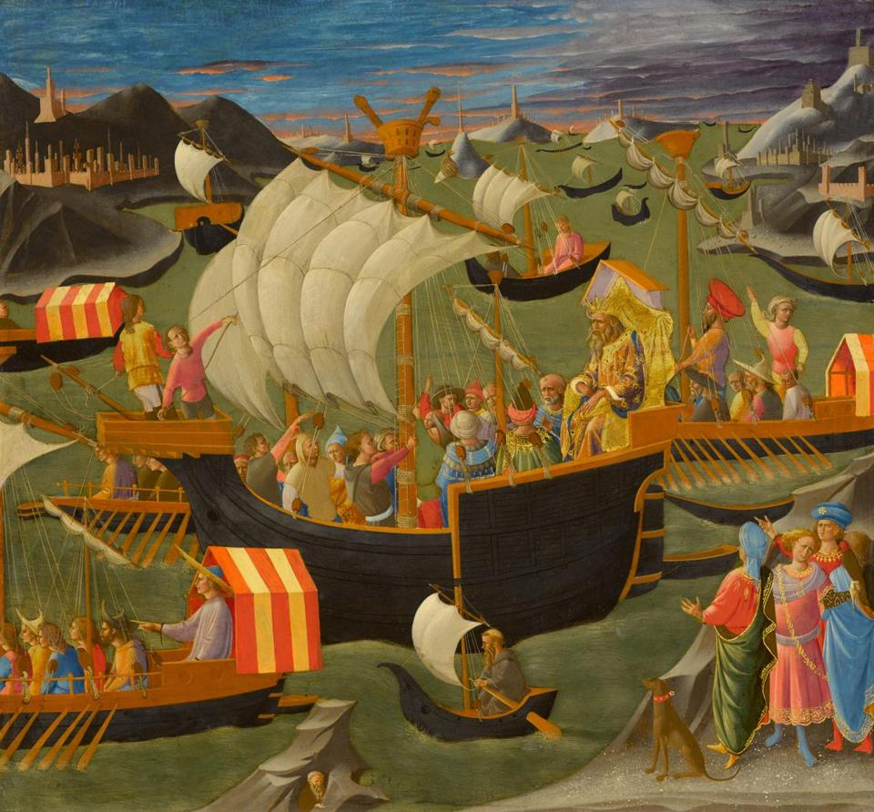 The Clark Art Institute - Pesellino (Francesco di Stefano) (Italian, c. 1422�1457), King Melchior Sailing to the Holy Land, c. 1445�50. Tempera, oil, and gold on panel 25 5/8 x 27 1/2 in. The Clark 1955.940 Photo credit: Courtesy of The Clark Art Institute -- 29Clark