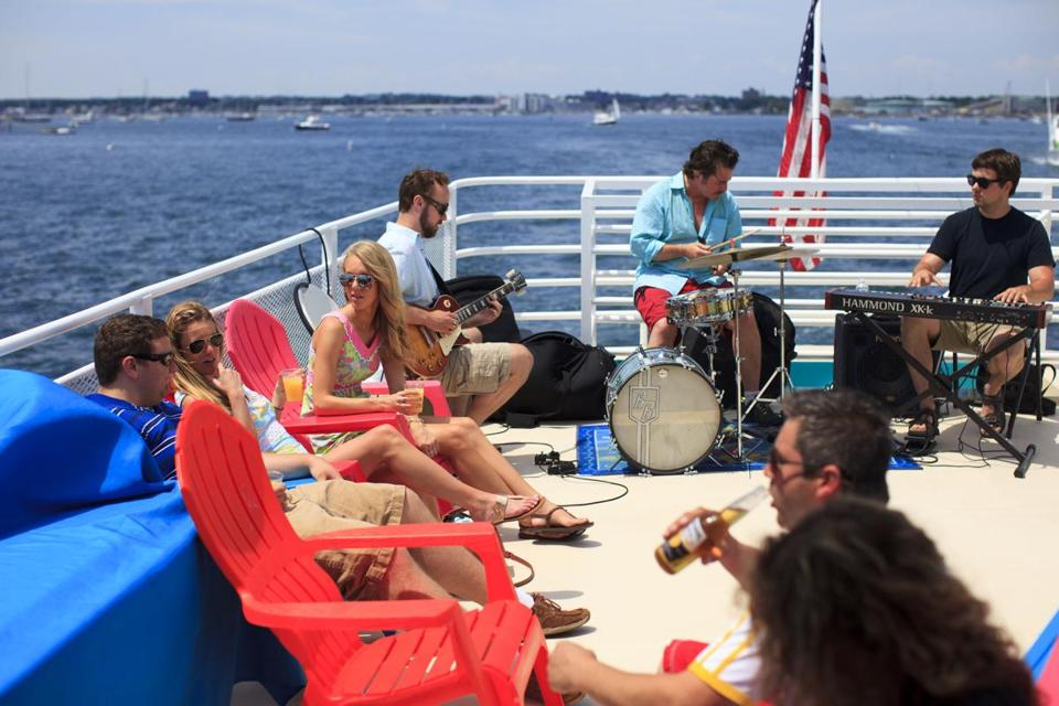 Dozens enjoyed the open deck on  a sunny jazz brunch cruise around the North Shore aboard the Hannah Glover.