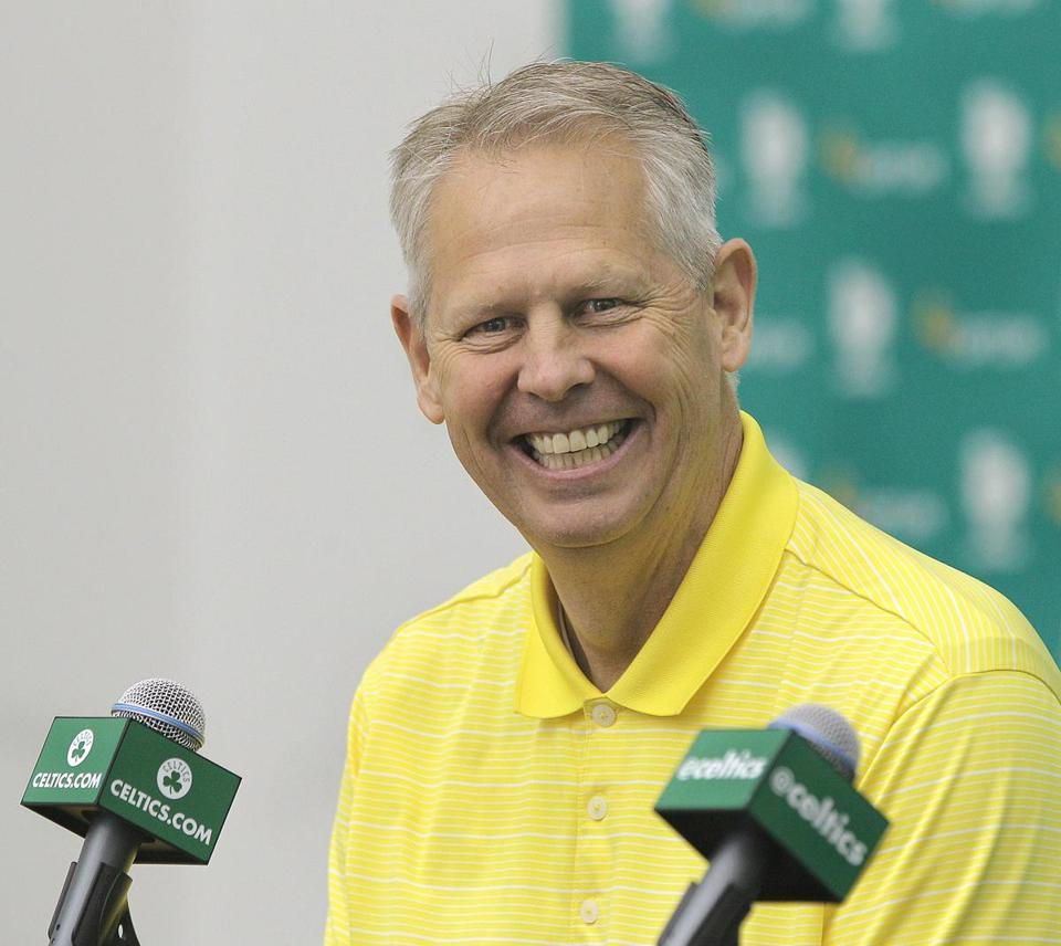 Danny Ainge would be happy to improve his team, but he's not going to be hasty in his judgments. Pat Greenhouse/Globe Staff
