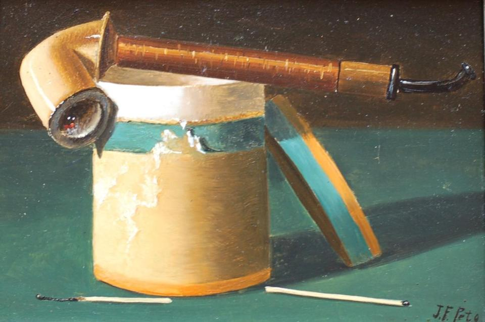 "John Frederick Peto's ""Pipe and Tobacco Cannister."""