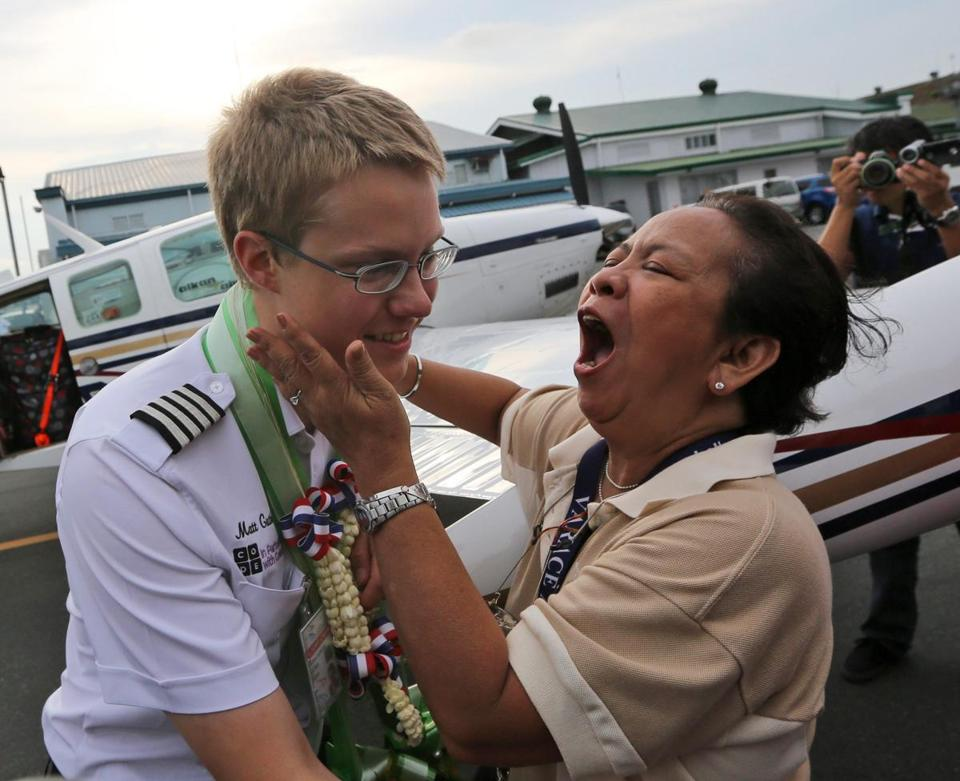Matthew Guthmiller is greeted by a wellwisher has he disembarks from his plane after landing in Manila on Monday.