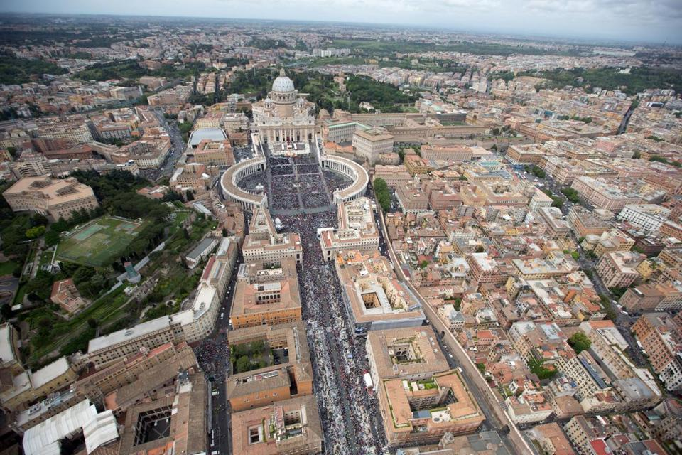 An aerial view of St. Peter's Square and Via della Conciliazione.
