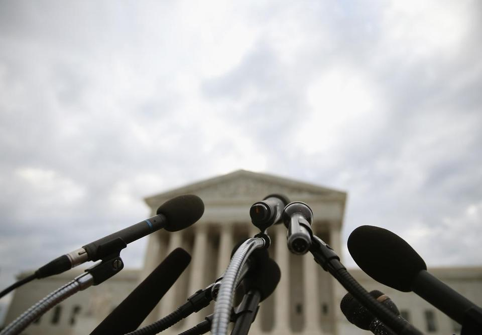 Microphones were set up in front of the Supreme Court Monday in advance of the Burwell v. Hobby Lobby ruling.