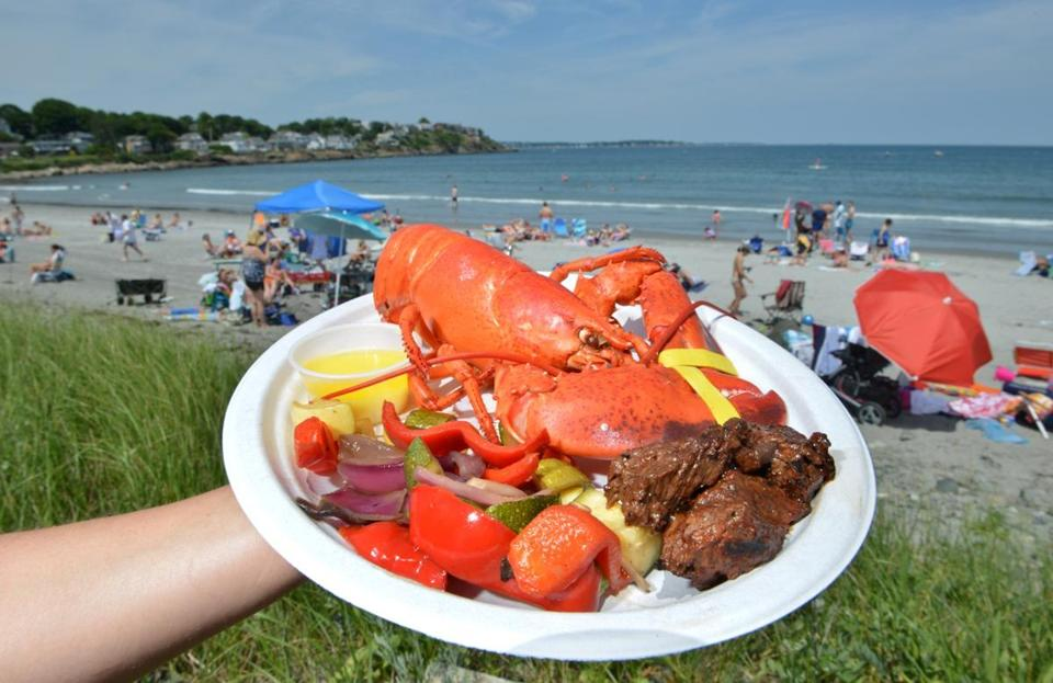 A surf and turf plate was prepared by Ipswich Clambakes.