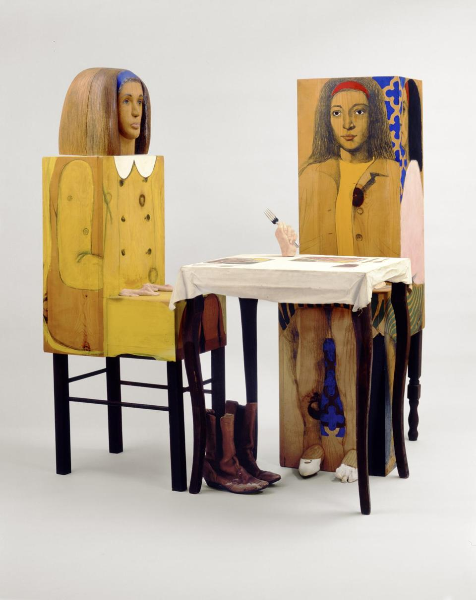 Marisol at Yale University Art Gallery. Artist: Marisol, French/American, b. Paris 1930, Dinner Date, 1963, Painted wood, plaster, textiles, oil on canvas, metal fork, leather boots, paint, graphite. 139.7 x 135.9 x 111.8 cm (55 x 53 1/2 x 44 in. ) Gift of Susan Morse Hilles, 1973.86.