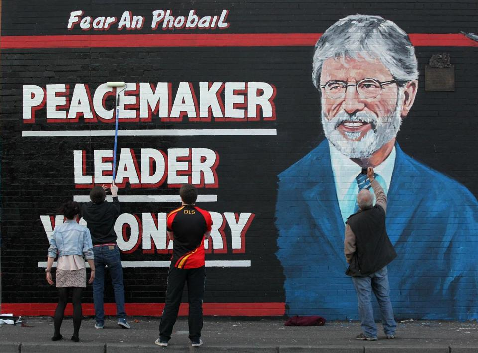 A newly created mural of Sinn Féin President Gerry Adams on the Falls Road in Belfast in May.