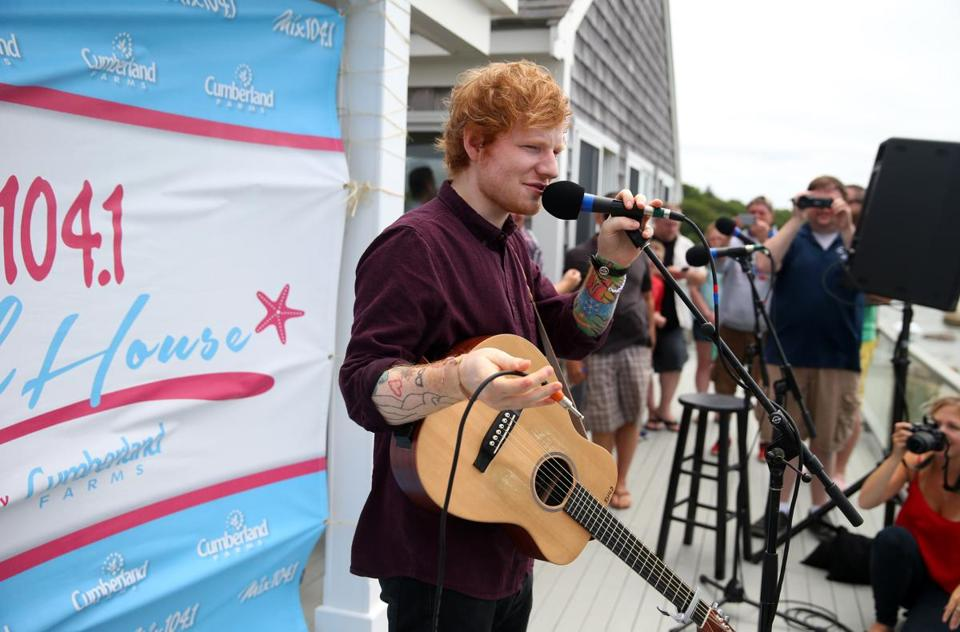 Ed Sheeran performing at a private concert on Wednesday in Bourne, part of a Mix 104.1 event.