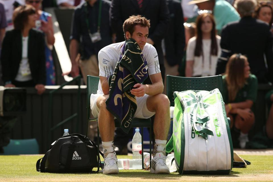 Andy Murray slumped in his chair after losing to  Grigor Dimitrov.