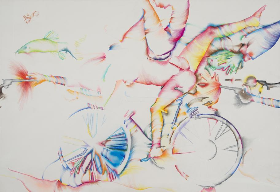 Mephis Brooks Museum of Arts Marisol, American (born France, 1930) Lick the Tire of My Bicycle, 1974 Colored pencil and crayon 72? � 105? inches (183.1 � 267 cm) Collection of the artist © Marisol Escobar / Licensed by VAGA, New York 06marisol
