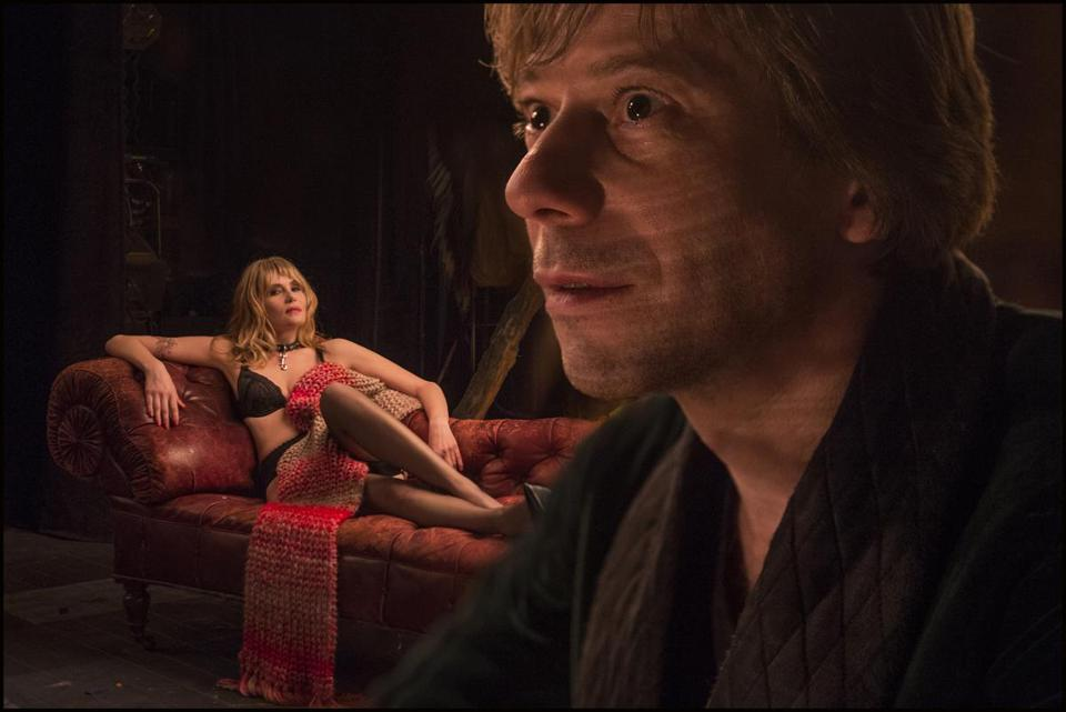 "Emmanuelle Seigner and Mathieu Amalric in Roman Polanski's film adaptation of the Broadway play ""Venus in Fur."""