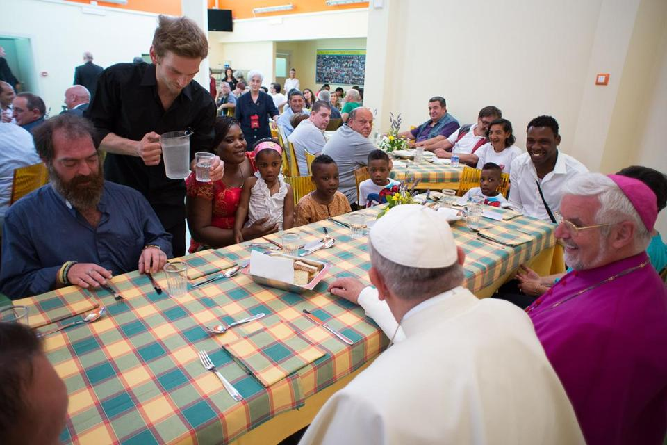 Pope Francis ate lunch with homeless and poor people in Campobasso, Italy.