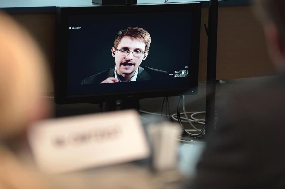 Edward Snowden spoke to European officials in June via videoconference during a hearing on improving the protection of whistle-blowers in Strasbourg, France,