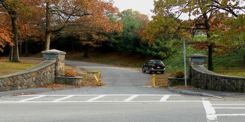 The entrance to Faxon Park in Quincy, where state funds will help replace a playground.