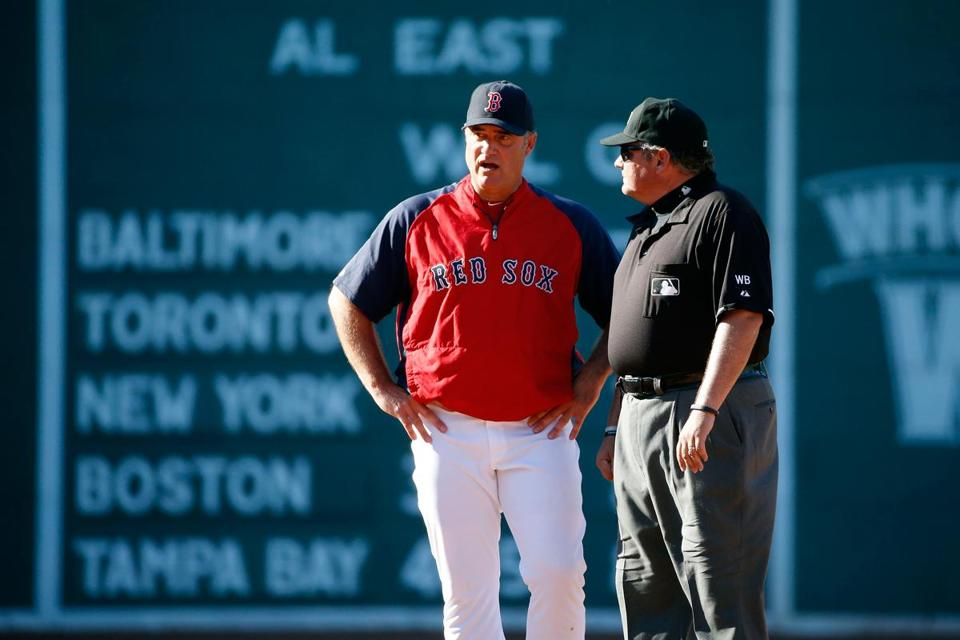 Red Sox manager John Farrell has a World Series in his pocket, but the defense of that title has but anything but easy.