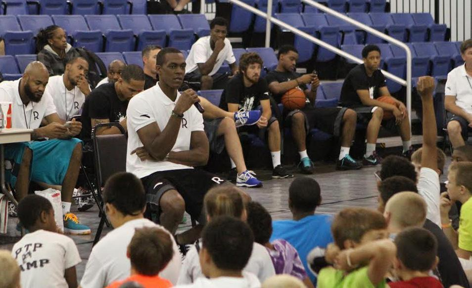 """I don't know who enjoys this more, myself or the kids,"" Rajon Rondo said of his basketball camp."
