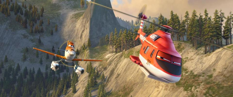 "Dusty Crophopper volun-teers for fire-and-rescue training in the ""Planes"" sequel, which features stunning aerial sequences."