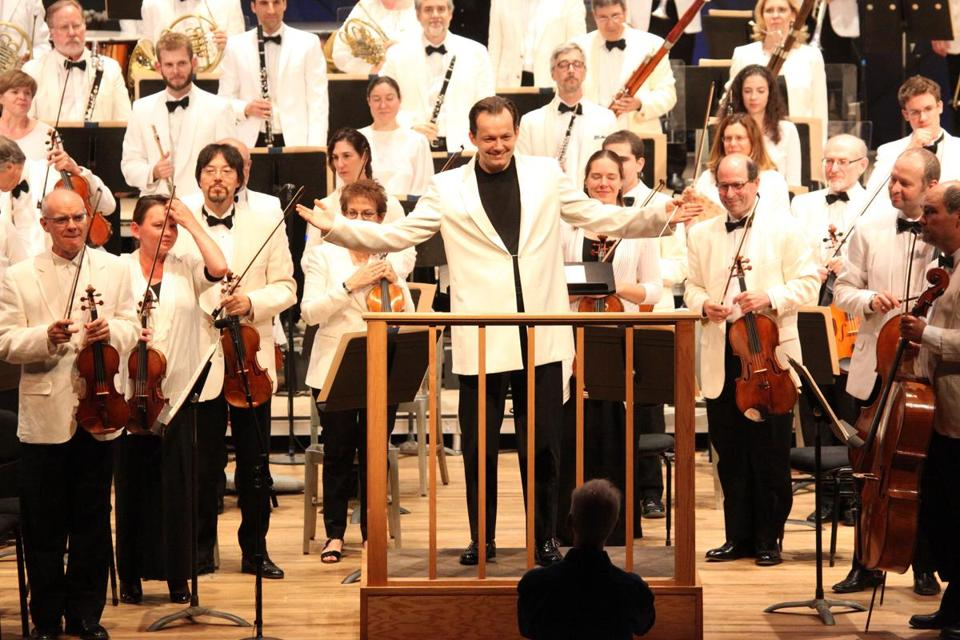 Andris Nelsons acknowledged the Tanglewood audience prior to the Boston Symphony Orchestra's all-Dvorak program on Friday night.