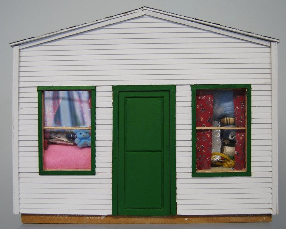 "An exhibition in West Concord's Bradford Mill includes (clockwise from upper left) a vintage doll house by Retro-craft Design,  ""Clutter Along the Way"" by Kate Benson, and ""First the Doll House, Then the Mill""  by Frank Mazzola Jr."