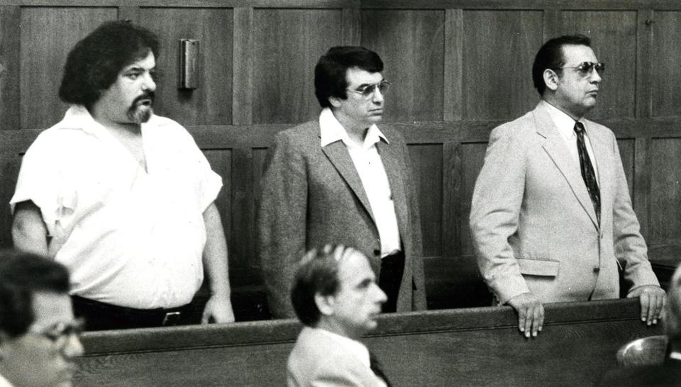 Several of the suspects were arraigned on Aug. 25, 1982; from left, they are Charles Cella, Anthony Dimino, and Alfred Mattuchio.