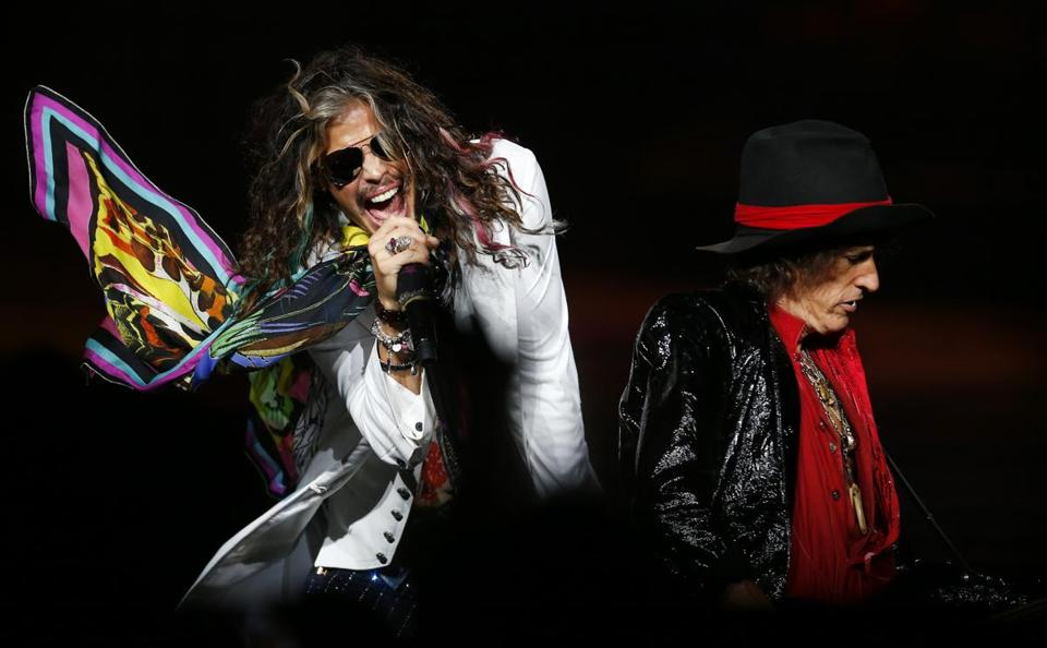 Steven Tyler (left) and Joe Perry seemed forever young at Aerosmith's show at Xfinity Center Wednesday night.