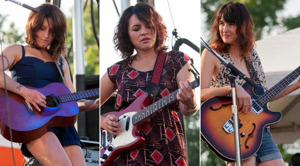 """It's an amazing situation where we egg each other on,"" says Sasha Dobson (left) of her band with Norah Jones (center) and Catherine Popper."
