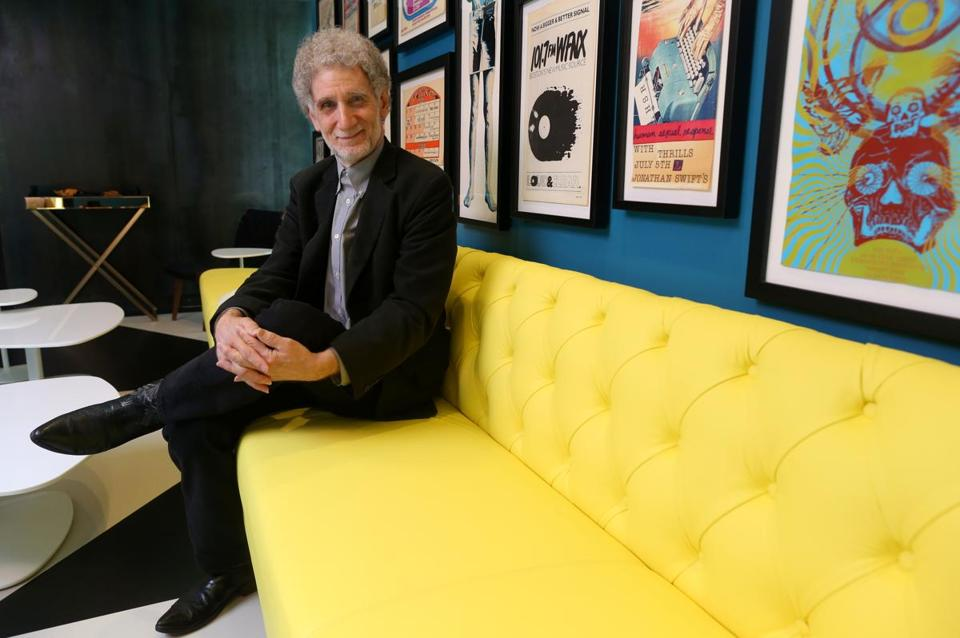 As project curator David Bieber presented many items from his vast collection of local music ephemera to be displayed at the rock-themed Verb Hotel.