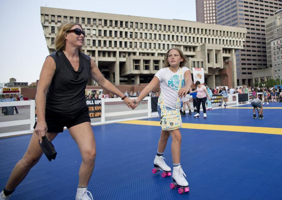 Sheila Connolly of South Boston skated with her daughter, Joanne McGuinness.