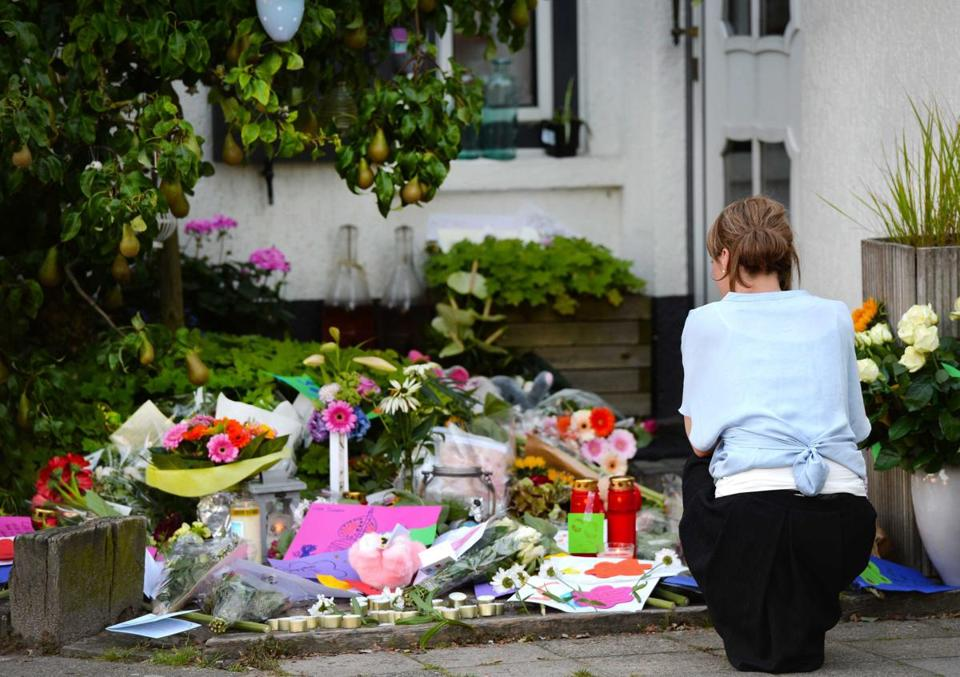 Flowers were placed near the house of a family that was killed in the MH17 disaster.