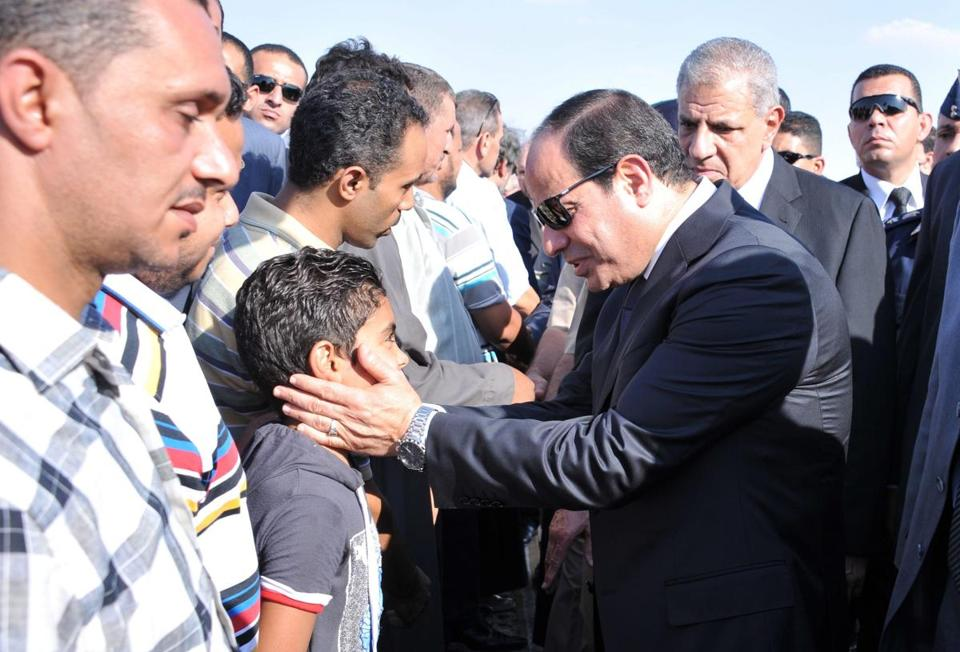 President Abdel-Fattah el-Sissi, Egypt's former military chief, attended the funeral at a military airport.
