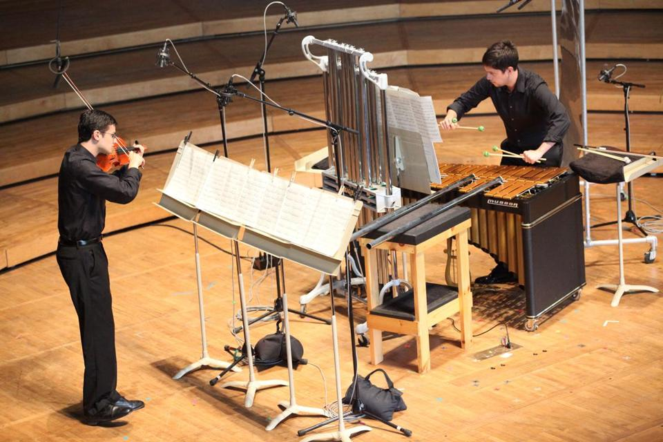 Jordan Koransky (left) and Joseph Kelly performing at Tanglewood's Festival of Contemporary Music on Saturday.