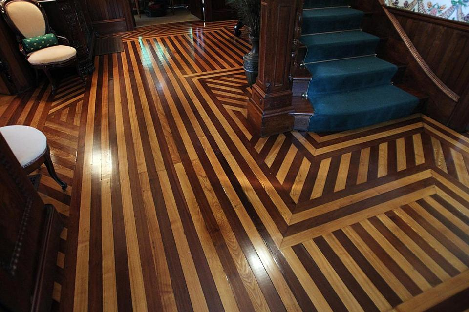 The unique floors in the front entranceway.