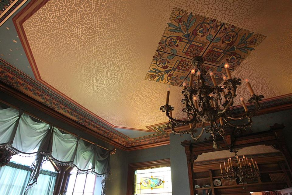 The ceiling of the dining room.