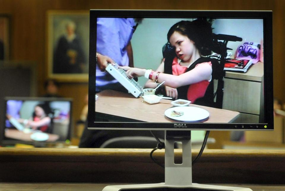14-year-old Haleigh Poutre was shown on a monitor during the trial of Jason Strickland.