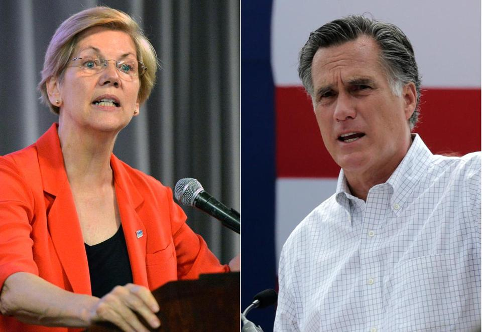 Image result for Images of Warren and Mitt Romney