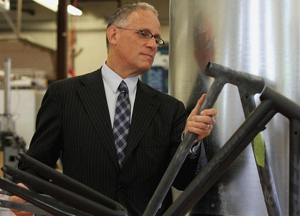 Fred Hochberg, chairman of the Export-Import Bank, inspected a bicycle frame at Parlee, a Beverly company that benefits from bank programs.