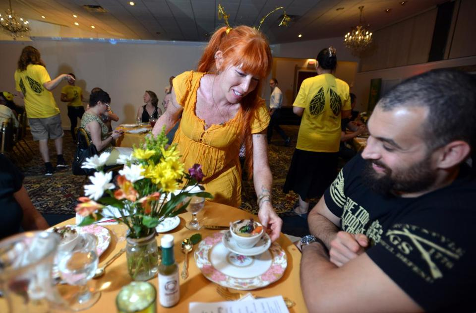 Lisa Markham of Cuisine en Locale serves Poulet in Pot to Nick Diamond of Somerville. Green salad with honeycomb, roast beef, and African blue basil. Sarah Peterson and her bees.