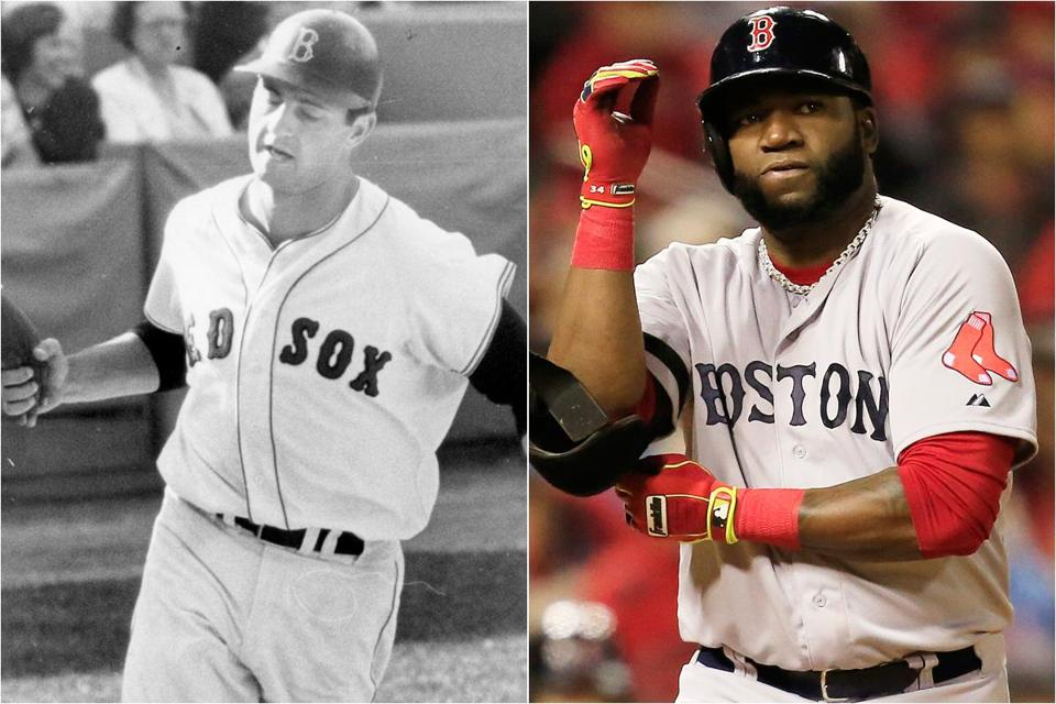 Carl Yastrzemski won the Triple Crown in 1967. David Ortiz has three World Series titles on his resume.