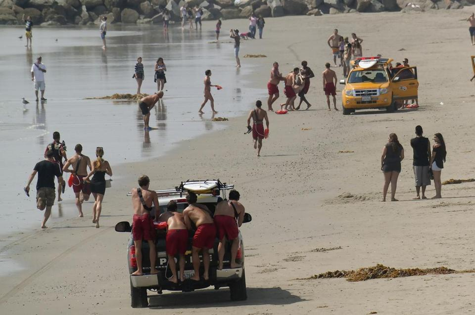 Lifeguards brought ashore a victim of a lightning strike in California.