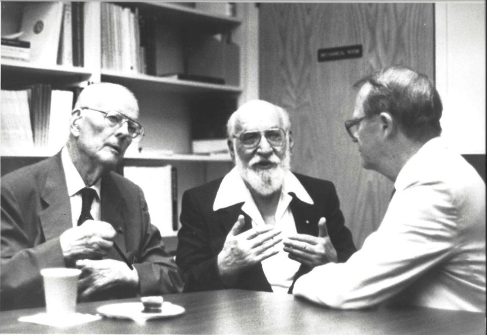 About 50 American Statistical Association members were at the Deming Library dedication in 1991, including (from left) Edward Deming, Benjamin Tepping, and J. Stuart Hunter. The group's founders convened in Boston in 1839.