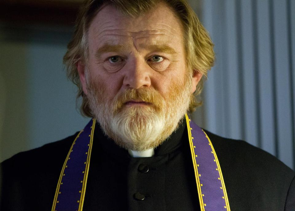 "Brendan Gleeson (top and far left, with Chris O'Dowd) as Father James in ""Calvary."" Above: director John Michael McDonagh."