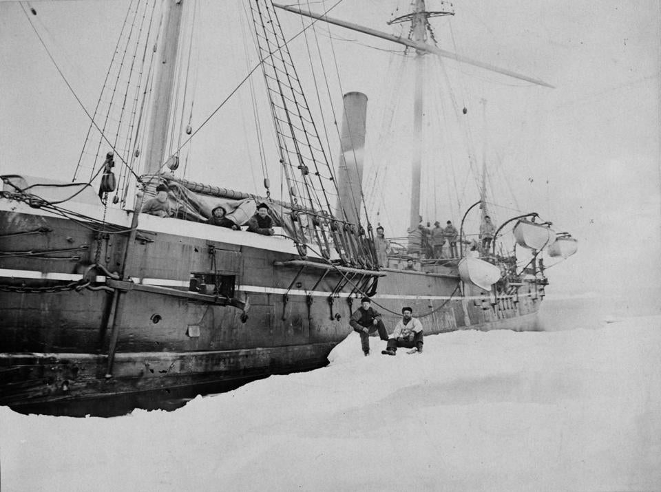 The Jeannette (then called the Pandora) photographed in Greenland in the mid 1870s.