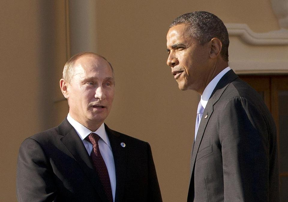President Obama shook hands with Russian President Vladimir Putin as dignitaries arrived for the G-20 summit in St. Petersburg last year.