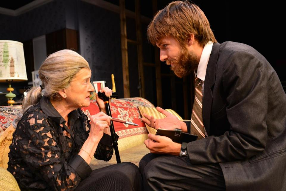 "Nancy E. Carroll as Vera and Tom Rash as Leo, her grandson, in Amy Herzog's ""4000 Miles"" at Gloucester Stage Company."