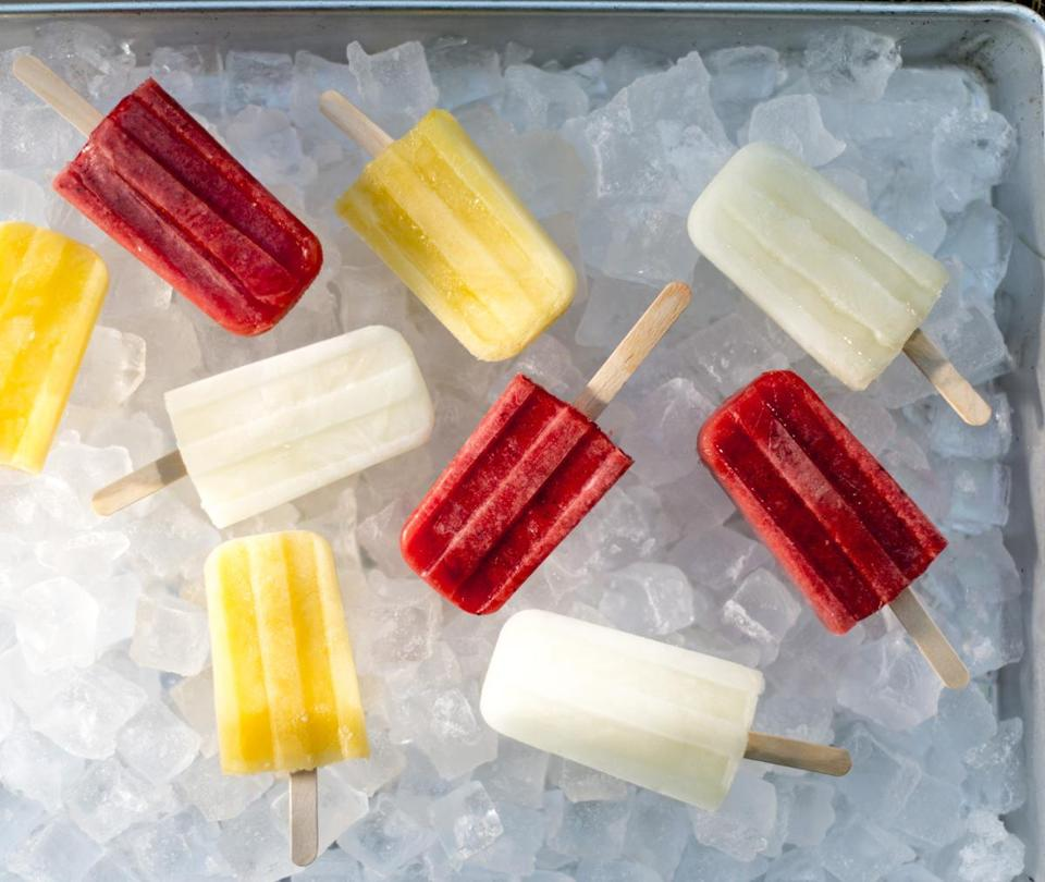 Strawberry, orange-chili, and icy lime paletas.