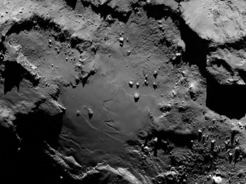A handout image taken by Rosetta made available by the European Space Agency (ESA) showed a region on the comet 67P/Churyumov-Gerasimenko.