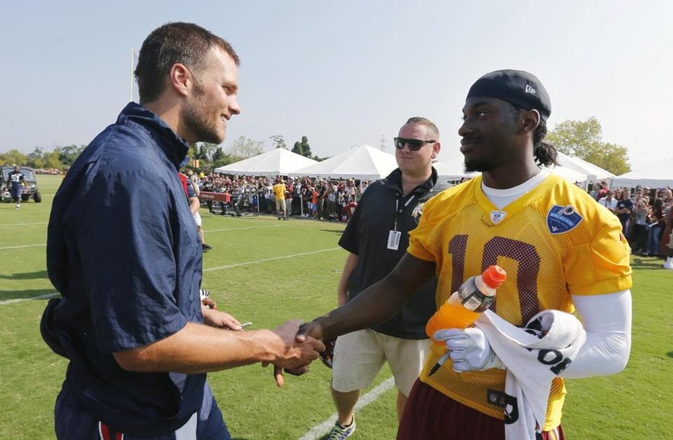 Tom Brady and the Patriots practiced with the Redskins in Richmond, Va., in 2014.