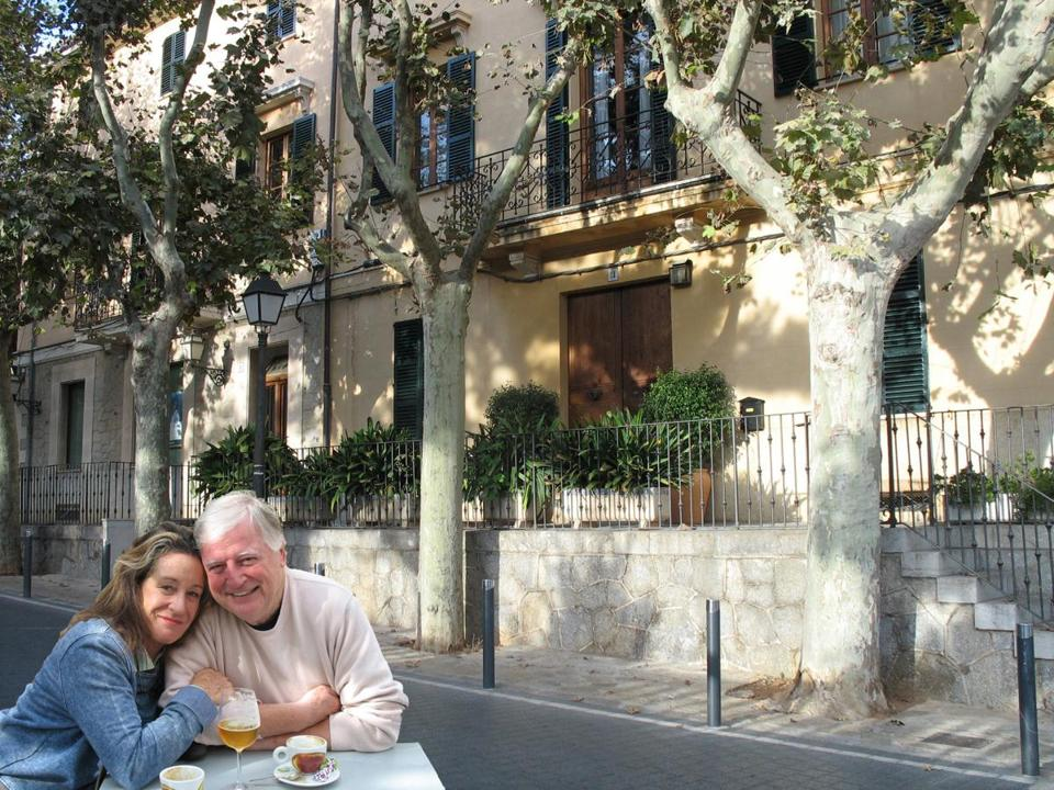 Kym and George are the couple for whom the author house sat on Majorca, the Spanish island in