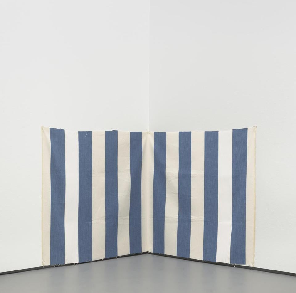 Buren Credit: Daniel Buren (French, born 1938), White acrylic paint on white and blue striped cloth, 1970. Acrylic on woven cloth, 25 1/2 x 55 1/2 in. (64.8 x 141 cm). National Gallery of Art, Washington, D.C. The Dorothy and Herbert Vogel Collection, 2007.6.328 © DB - ADAGP, Paris / Artists Rights Society (ARS), New York 2014 -- 15new
